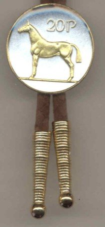 Gorgeous 2-Toned Gold on Silver Horse World Coin Bolo-Tie-BT-104