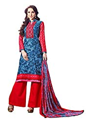 RAGINI WOMENS BLENDED UNSTITCHED SALWAR SUIT DRESS MATERIAL Red Coloured _Free Size)