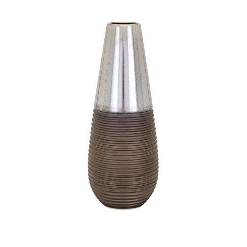 Idella Short Vase - ribbed styling enhances this short ceramic vase