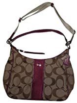 Coach 21873 Khaki & Berry Signature Stripe Convertible Hobo