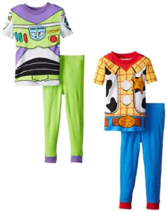 Disney Little Boys' Toy Story Woody and Buzz 4-Piece Cotton Pajama Set, Multi, 2T
