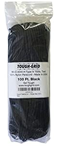 Paracord / Parachute Cord - 750lb Mil-C-5040-H Type IV - 100Ft. Color = Black. This is the actual parachute cord used by the US Military. It is the Best Paracord available to the public and made by a US Government Certified Manufacturer. This Paracord is rated to 750 pounds (beating the average
