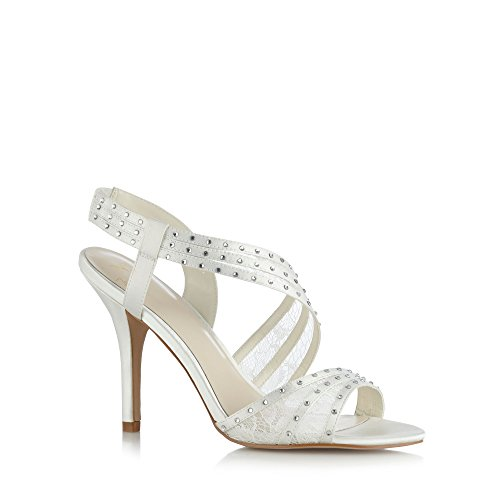 No. 1 <strong>Jenny Packham Womens Designer Ivory Rhinestone Lace Sandals