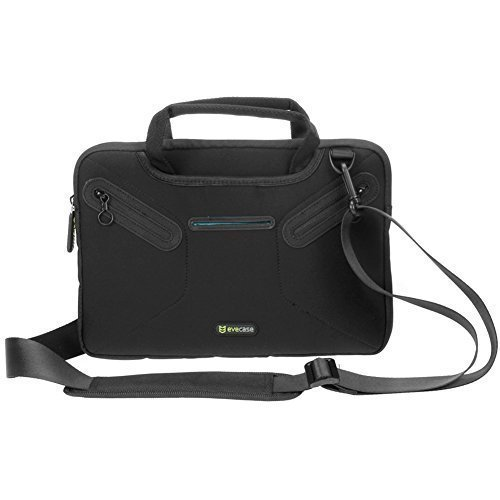 02. Evecase 11.6 inch Laptop; 12 inch Tablet Neoprene Messenger Case with Handle and Carrying Strap (Black)