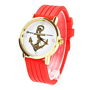 Willtoo® Unisex Anchors Silicone Analog Quartz Wrist Watch Red