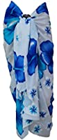 Ladies Hibiscus Print Sarong Wrap Dress Beach Swimwear Cover Up with Coconut Shell Buckle