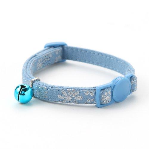【アミコ】【猫用首輪】マットフラワー猫カラー 色:560 ライトブルー