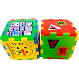 Toyshine Educational ALL In ONE Blocks Set - Multi-skill: Colors, Counting, ABC, Maths, Clock, Blocks, Puzzle...