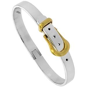 Sterling Silver & Brass Belt Buckle Bracelet Two Tone 1/4 inch Wide
