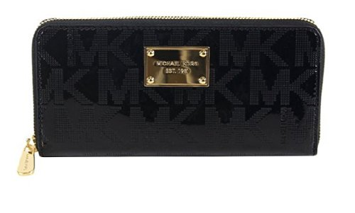 Michael Kors Mk Signature Black Mirror Zip Around Continental Wallet