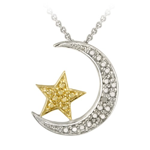 18k Gold Plated and Sterling Silver Diamond-Accented Moon and Star Pendant Necklace 18""