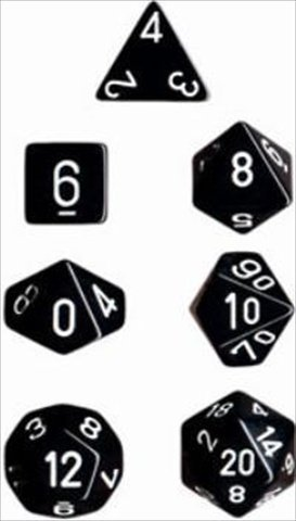 Chessex Manufacturing 25408 Opaque Black With White Polyhedral Dice Set Of 7