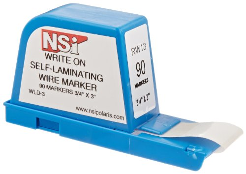 "Nsi Industries Wld-3 Write-On Self Laminating Wire Marker Dispenser, 3"" Width, 0.75"" Label Length"