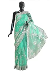 Light Emarald Green Net Saree With Silver Sequin And Zari Thread Work All-Over, Pallu And Border - Net