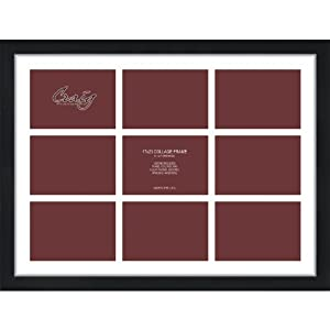 Craig Frames 17x23-Inch Black Picture Frame, Single White Collage Mat with 9 - 5x7-Inch Openings
