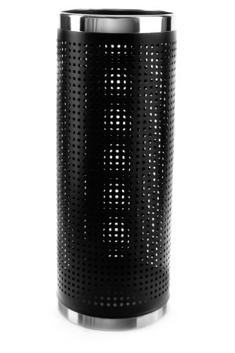 Brelso Super Quality Umbrella Stand, Umbrella Holder, Black Finished Metal, Perforated Sides To Dry Umbrellas Faster, Stainless Steel Rims, Model BBM2-S04