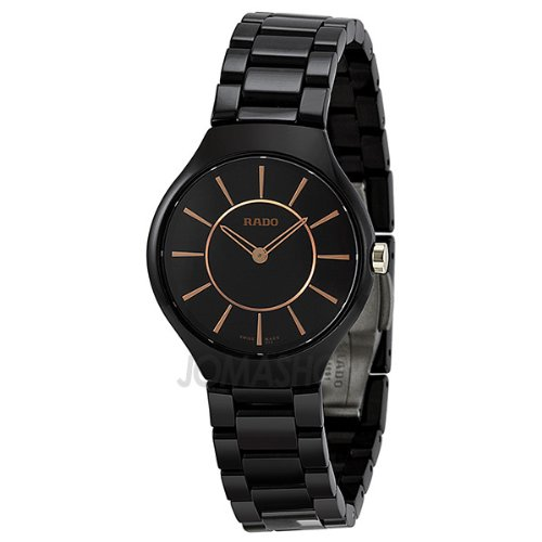 Rado True Thinline Black Ceramic Ladies Watch R27742152