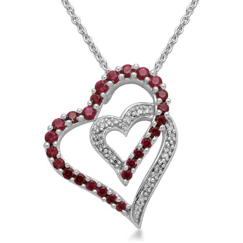 Sterling Silver Round Created Ruby and Diamonds Double Heart Pendant Necklace, 18
