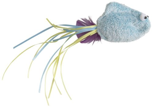 West Paw Design Rainbow Catnip-Filled Fish Cat Toy with Bell, Blue