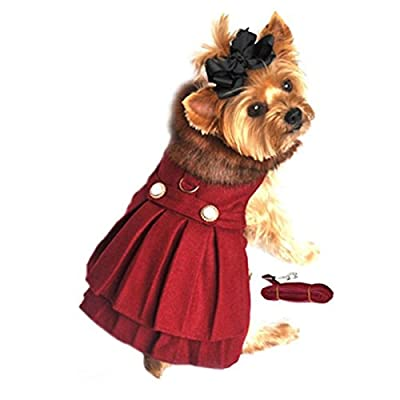 "Doggie Design Burgundy Wool with Soft Plush Faux Fur Collar Harness Coat with Matching Leash Size Medium (Chest 16-19"", Neck 13-16"", - Pets Weighing 11-15lbs)"
