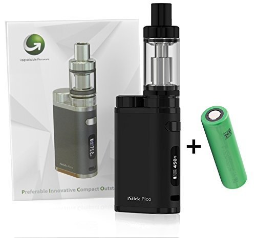 E-Zigarette Eleaf iStick Pico TC 75 Watt/MELO 3 Verdampfer 4ml Komplett Set, schwarz (Full Kit + Akku)