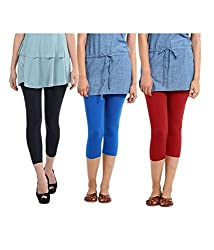 Rooliums Super Fine Cotton Lycra Womens Capri Leggings Combo Pack of 3 (Black, Sky Blue and Red) - FREE SIZE