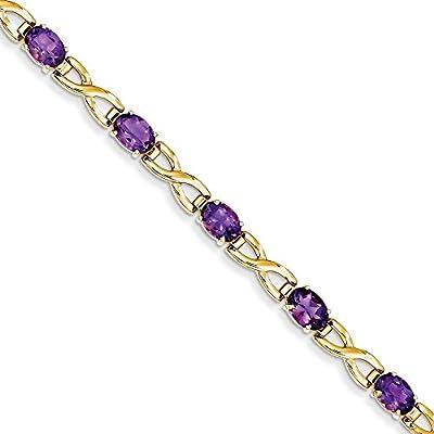 14k 7x5mm Oval Amethyst bracelet