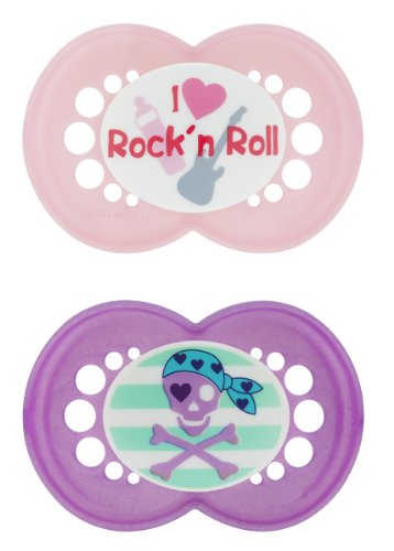 MAM Rock N' Roll Silicone Pacifier, Pink, 2-Count