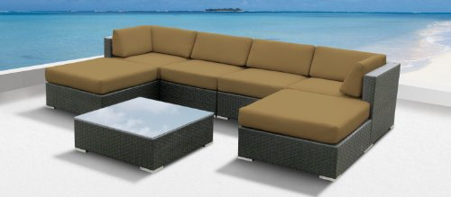 Luxxella Outdoor Patio Wicker MALLINA Sofa Sectional Furniture 7pc All Weather Couch Set DARK BEIGE
