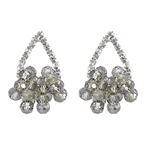 Women Gray Crystal Decor Rhinestone Water Drop Earbob Stud Earrings Pair