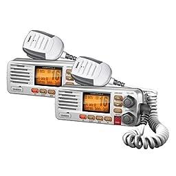 Uniden UM380WH Portable 5W JIS8/CFR46 Waterproof Two Way VHF Marine Radio (2 Pack)