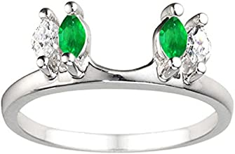 10k Gold Traditional Marquise Ring Wrap Enhancer with Created Emerald And DiamondsG-HI2-I3 044 ct tw