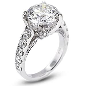 6.67 Carat Exc-Cut Round J-SI1 GIA Certified Diamond 18k Gold Engagement Ring with Milgrains 7.54gr