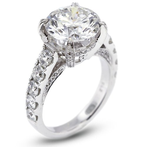 10.29 CT Excellent Cut Round I-SI3 Certified Diamond 18k Gold Engagement Ring with Milgrains 7.54gr