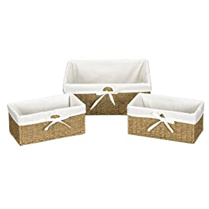 Household Essentials Set of Three Woven Seagrass Storage Utility Baskets, Natural