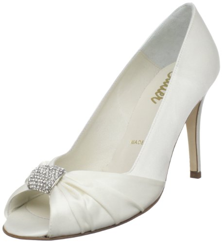 Rev Bridal by Butter Women's Charles-B Peep-Toe Pump,White Satin,8 M US