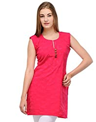 Ambitione Pink Colored Round Neck Kurti_S