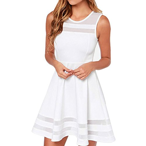 Face N Face Women's Mesh Slim Sleeveless Short Mini Flare Dress Medium White