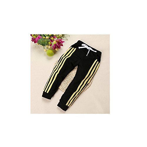 Top Shop US Boys/Girls Kids Striped Drawstring Casual Leggings Pants Trousers,Black,140 (Cossack Pants compare prices)