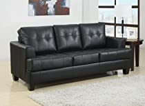 Big Sale Coaster Samuel Collection Black Leather Sofa Sleeper Couch