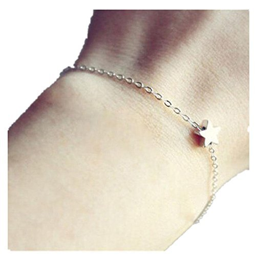 Banggood Ladies Charming Pentagram Pendant Chain Fine Bracelet Silver Color by Bangood