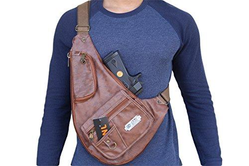 black-brown-tan-multi-purpose-synthetic-leather-cross-bodychest-bag-gun-pouch-black