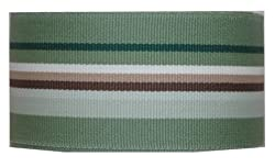 Grosgrain Ribbon 1.5 Inch 20 Yards Westbrook Stripe - Green Brown Cream
