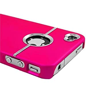 Hot Pink Deluxe W/chrome Rubberized Snap-on Hard Back Cover Case for AT&T Apple Iphone 4 4g