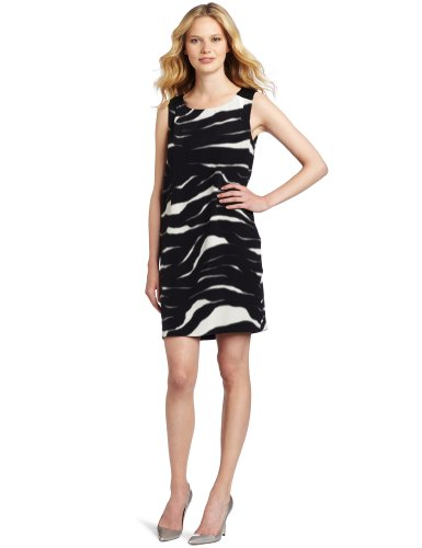 Cluny Women's Zebra Print Shift Dress, Black/White, 10
