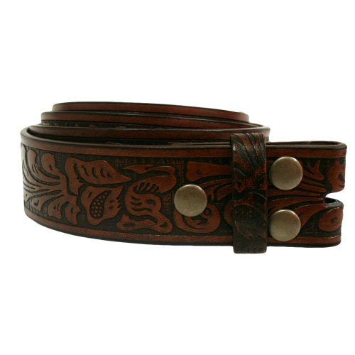 Brown Two Tone Tooled Embossed Leather Snap Belt Size Medium