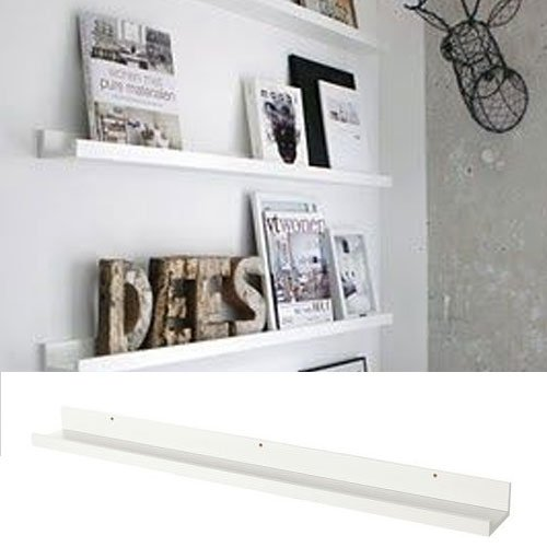 Denver Modern Floating Wall Ledge Shelf for Pictures and Frames 46 Inches Long , White