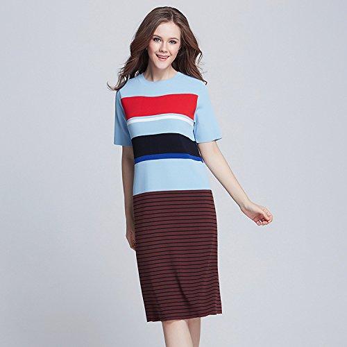 GA&GA Maglia abito sciolto/contrasto colore strisce finto abito due pezzi maglia donne Ladies' , blue