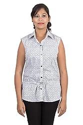 Juee Women's Printed Sleeveless Casual Top (JU103SY3SLWHT) (Medium)