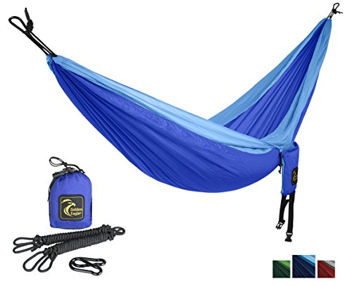 Golden Eagle Portable Single Parachute Silk Camping Hammock Set with Ropes and Carabiners, Light Blue / Dark Blue (Folding Chair Replacement Parts compare prices)